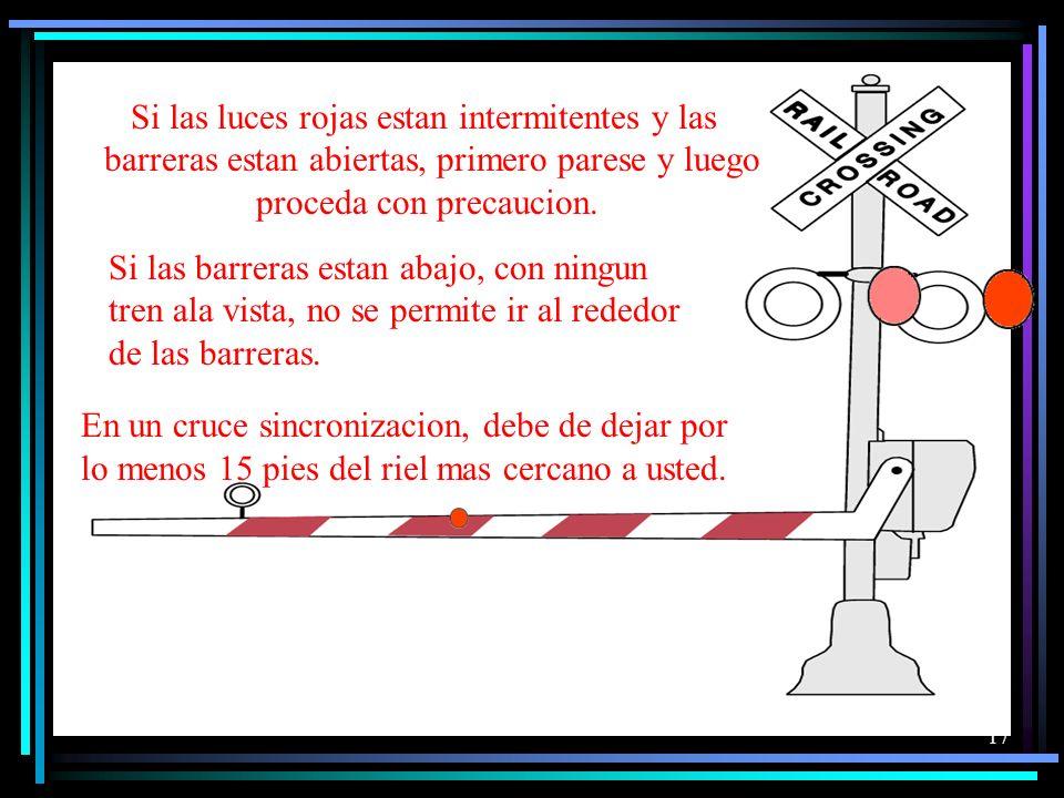 16 Los cruces de ferrocarril también se indica mediante una señal de vuelta. Estos signos se encuentra a 50 y 500 pies del cruce de ferrocarril, depen