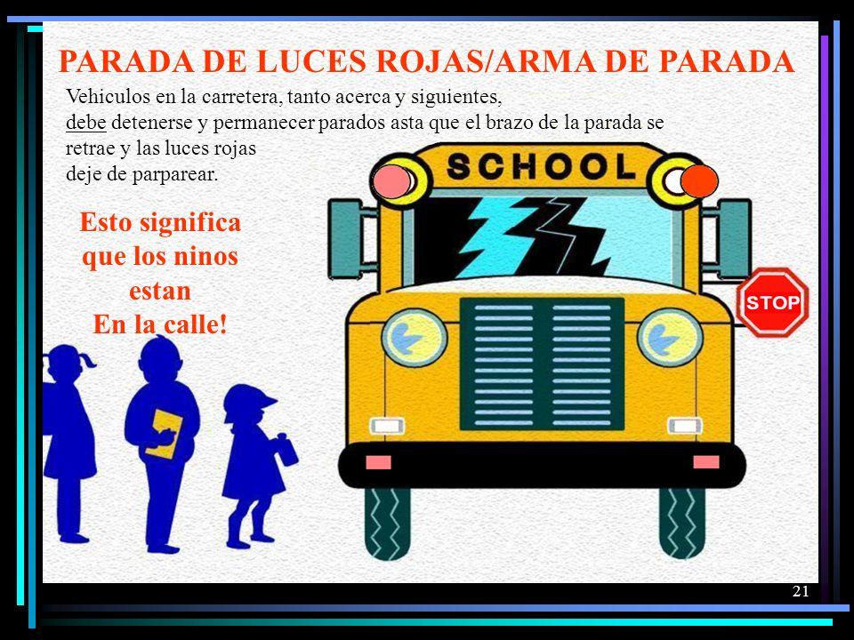 20 Cuando las luces de alerta se activan esto significa que el autobus se esta preparando para la carga o descarga de ninos. Su accion de ser la reduc