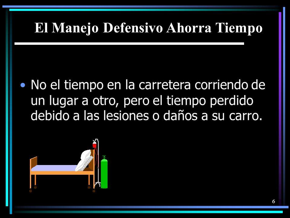 6 El Manejo Defensivo Ahorra Tiempo No el tiempo en la carretera corriendo de un lugar a otro, pero el tiempo perdido debido a las lesiones o daños a su carro.