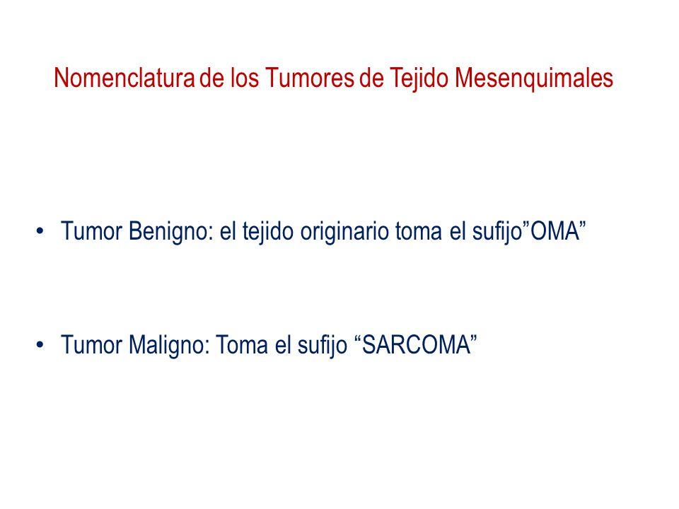 Nomenclatura de los Tumores de Tejido Mesenquimales Tumor Benigno: el tejido originario toma el sufijoOMA Tumor Maligno: Toma el sufijo SARCOMA