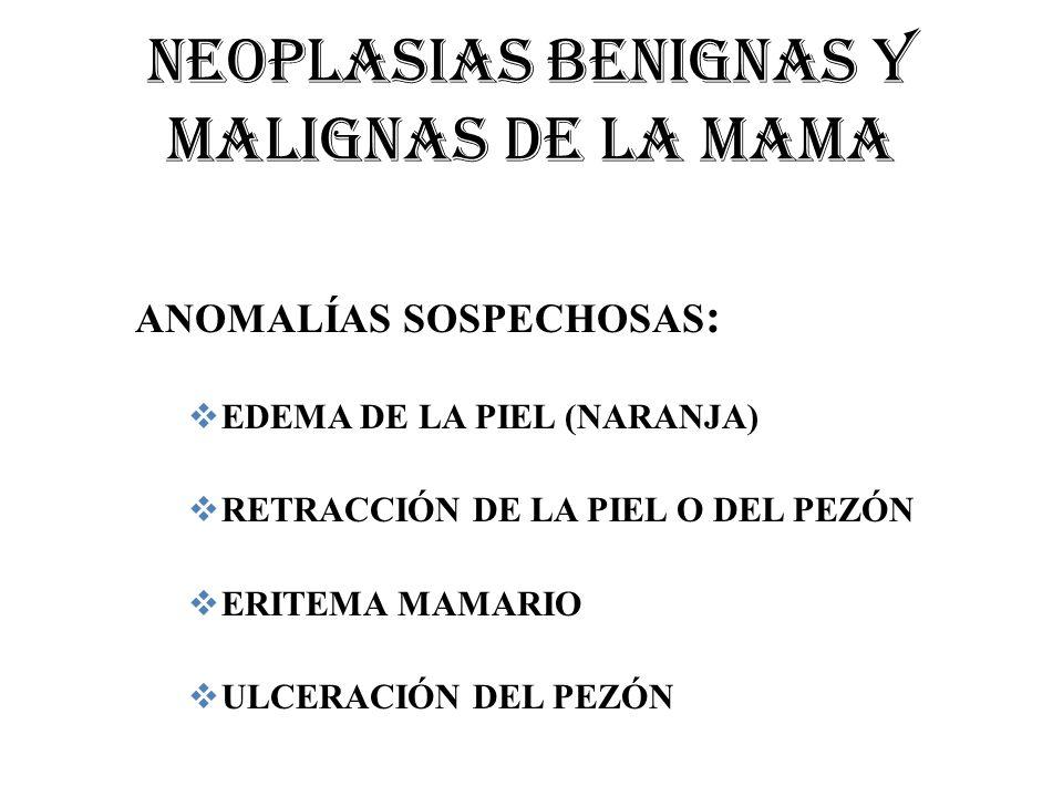 NEOPLASIAS BENIGNAS Y MALIGNAS DE LA MAMA ANOMALÍAS SOSPECHOSAS : EDEMA DE LA PIEL (NARANJA) RETRACCIÓN DE LA PIEL O DEL PEZÓN ERITEMA MAMARIO ULCERAC