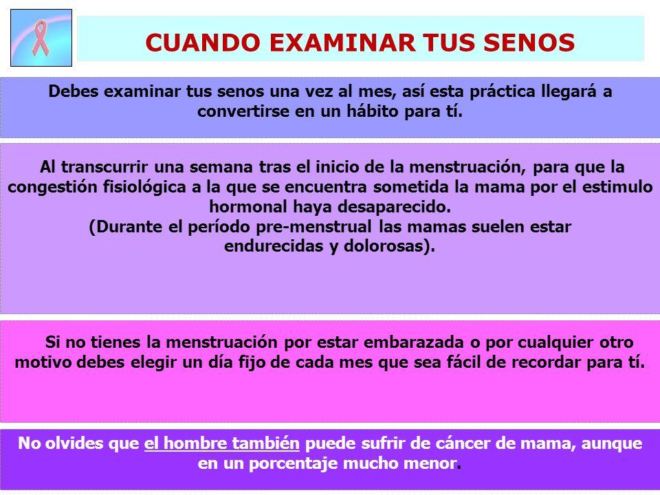 No olvides que el hombre también puede sufrir de cáncer de mama, aunque en un porcentaje mucho menor. Debes examinar tus senos una vez al mes, así est
