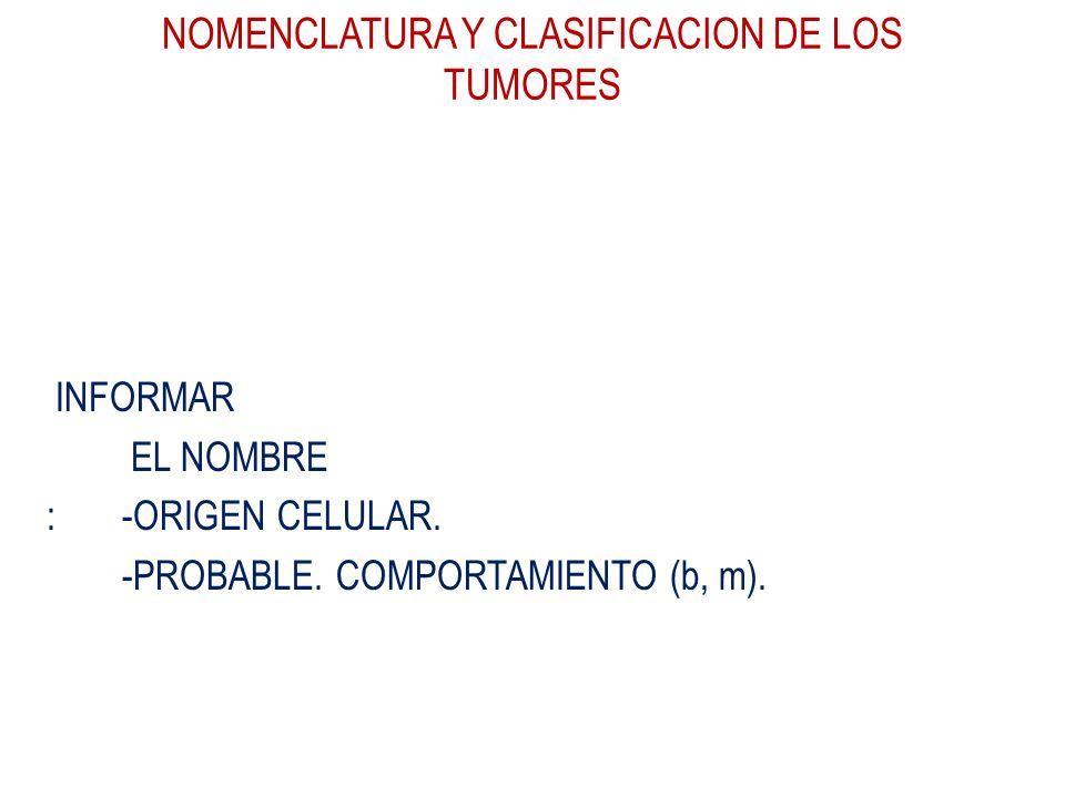 NOMENCLATURA Y CLASIFICACION DE LOS TUMORES INFORMAR EL NOMBRE : -ORIGEN CELULAR. -PROBABLE. COMPORTAMIENTO (b, m).