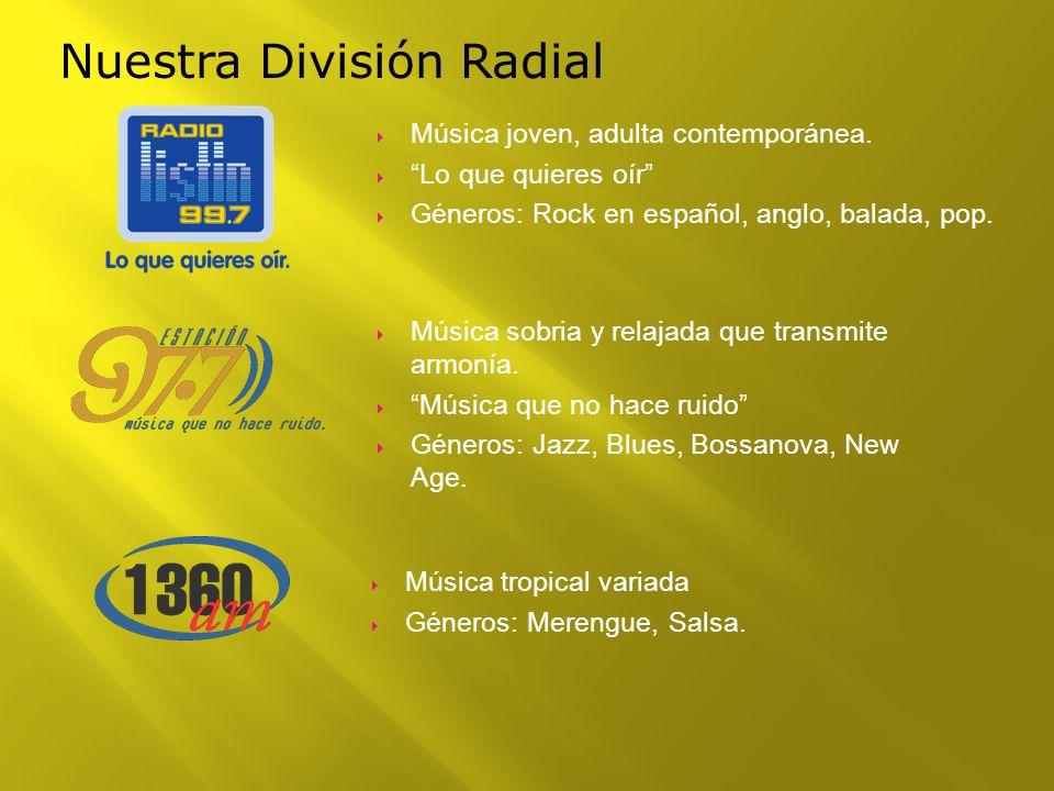 Nuestra División Radial Música joven, adulta contemporánea. Lo que quieres oír Géneros: Rock en español, anglo, balada, pop. Música sobria y relajada