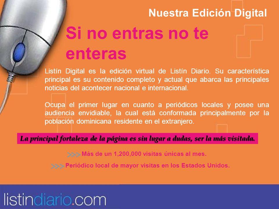 Listín Digital es la edición virtual de Listín Diario. Su característica principal es su contenido completo y actual que abarca las principales notici
