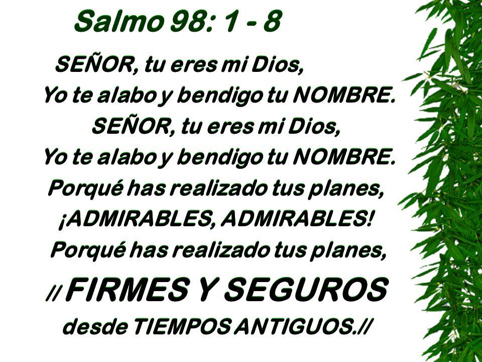 Salmo 98: 1 - 8 SEÑOR, tu eres mi Dios, Yo te alabo y bendigo tu NOMBRE. SEÑOR, tu eres mi Dios, Yo te alabo y bendigo tu NOMBRE. Porqué has realizado