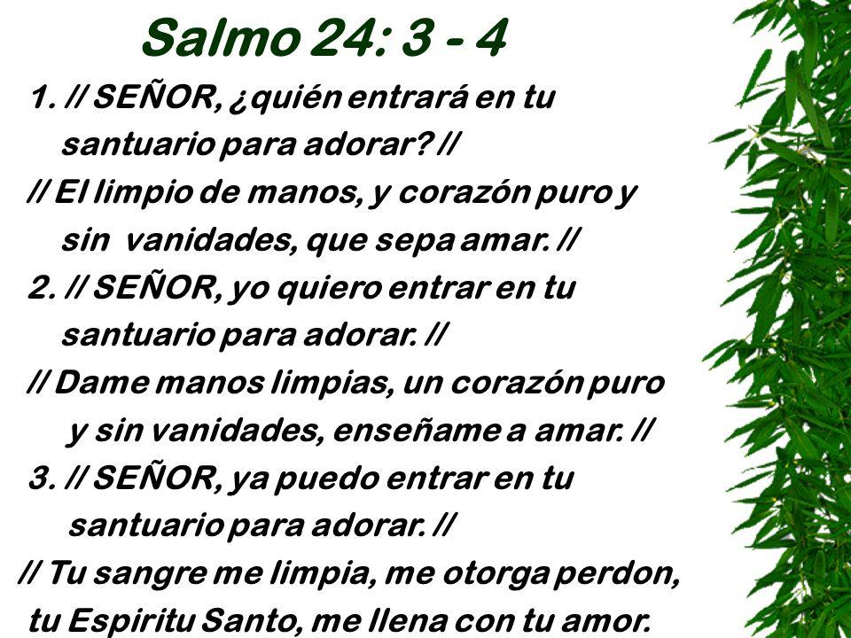 Salmo 24: 3 - 4 1. // SEÑOR, ¿quién entrará en tu santuario para adorar? // // El limpio de manos, y corazón puro y sin vanidades, que sepa amar. // 2