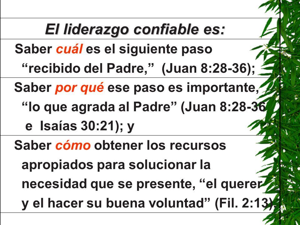 El liderazgo confiable es: El liderazgo confiable es: Saber cuál es el siguiente paso recibido del Padre, (Juan 8:28-36); Saber por qué ese paso es im