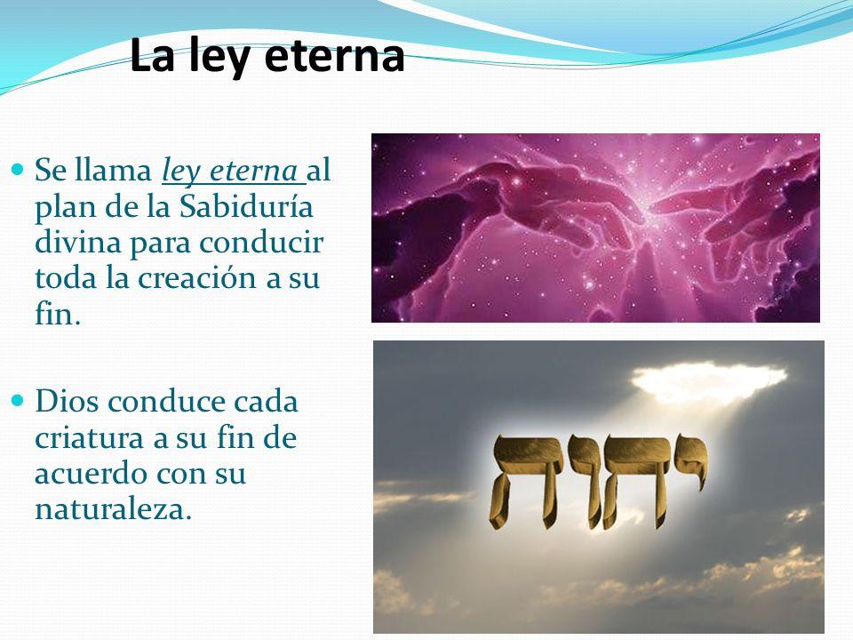 Se llama ley eterna al plan de la Sabiduría divina para conducir toda la creación a su fin. Dios conduce cada criatura a su fin de acuerdo con su natu
