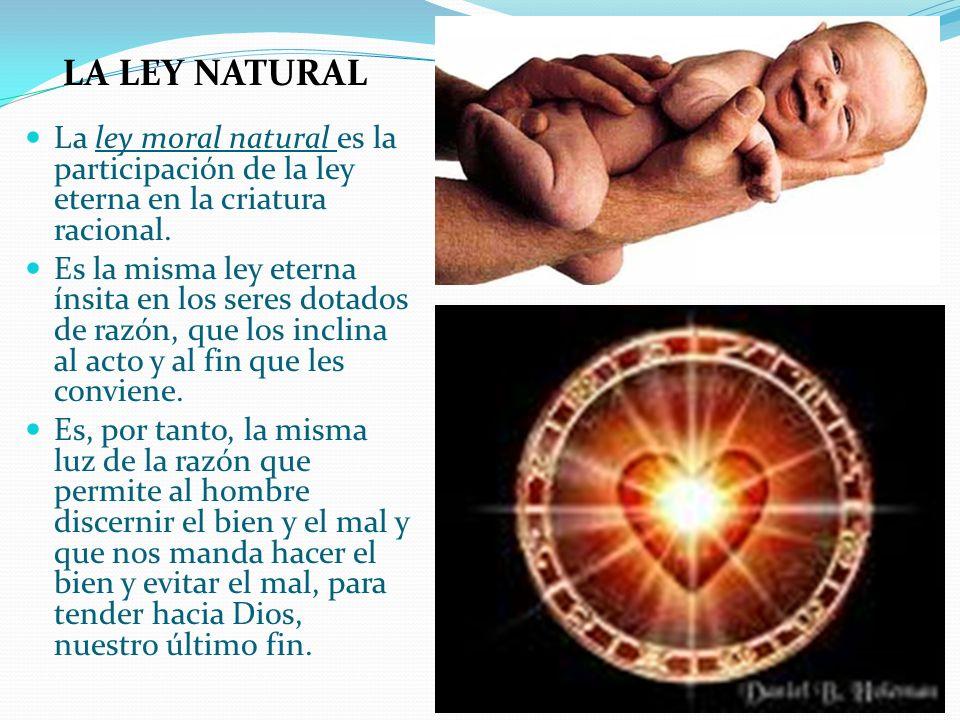 La ley moral natural es la participación de la ley eterna en la criatura racional. Es la misma ley eterna ínsita en los seres dotados de razón, que lo