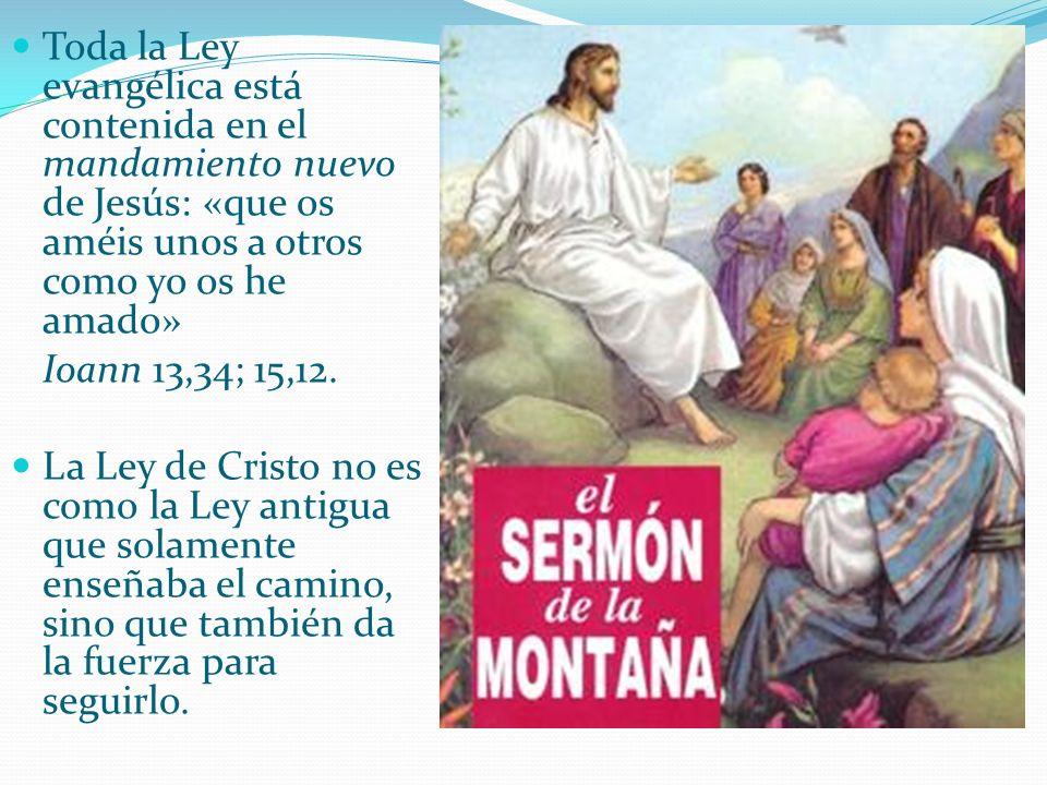 Toda la Ley evangélica está contenida en el mandamiento nuevo de Jesús: «que os améis unos a otros como yo os he amado» Ioann 13,34; 15,12. La Ley de