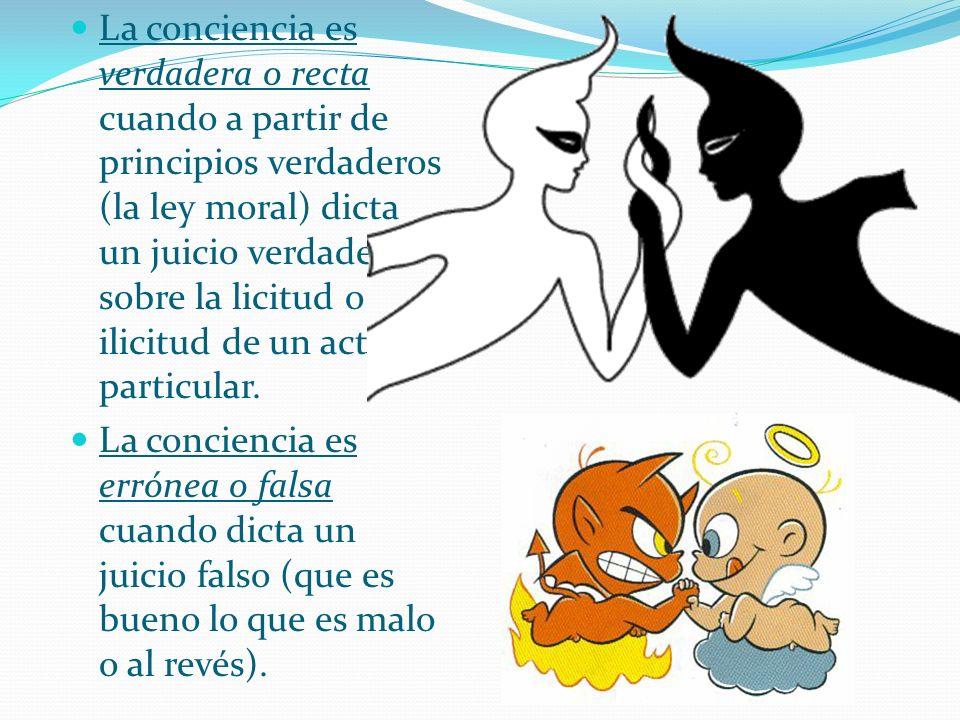 La conciencia es verdadera o recta cuando a partir de principios verdaderos (la ley moral) dicta un juicio verdadero sobre la licitud o ilicitud de un