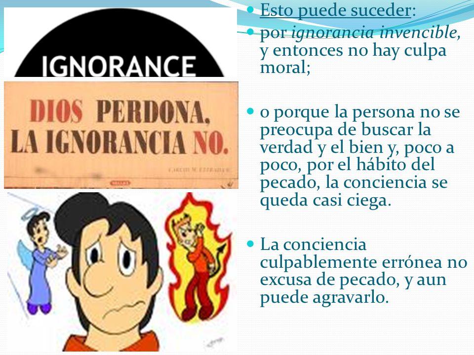 Esto puede suceder: por ignorancia invencible, y entonces no hay culpa moral; o porque la persona no se preocupa de buscar la verdad y el bien y, poco a poco, por el hábito del pecado, la conciencia se queda casi ciega.