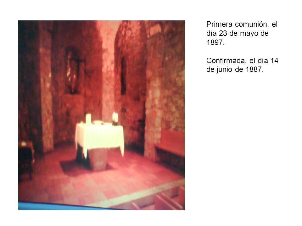 Primera comunión, el día 23 de mayo de 1897. Confirmada, el día 14 de junio de 1887.