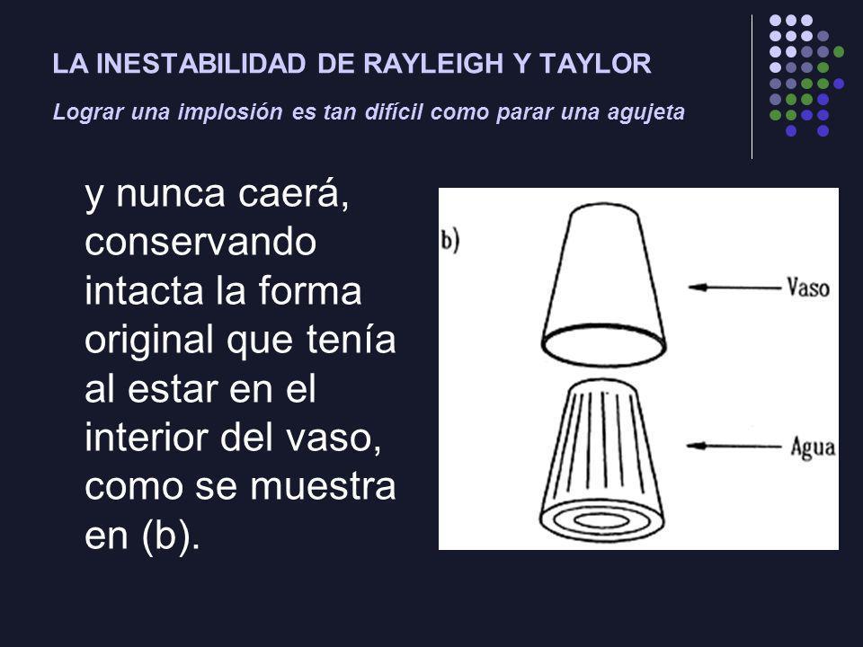 LA INESTABILIDAD DE RAYLEIGH Y TAYLOR Lograr una implosión es tan difícil como parar una agujeta y nunca caerá, conservando intacta la forma original que tenía al estar en el interior del vaso, como se muestra en (b).