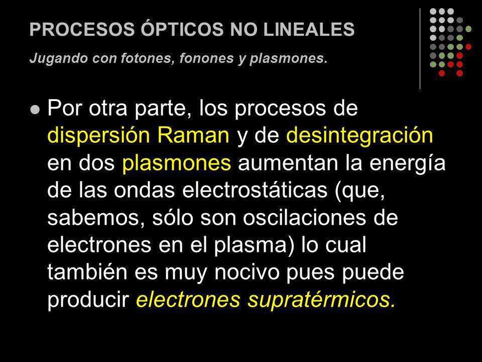 PROCESOS ÓPTICOS NO LINEALES Jugando con fotones, fonones y plasmones.