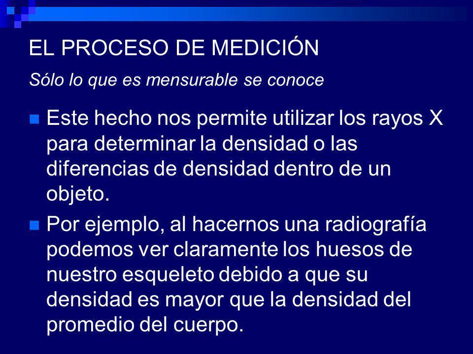 EL PROCESO DE MEDICIÓN Sólo lo que es mensurable se conoce Este hecho nos permite utilizar los rayos X para determinar la densidad o las diferencias de densidad dentro de un objeto.