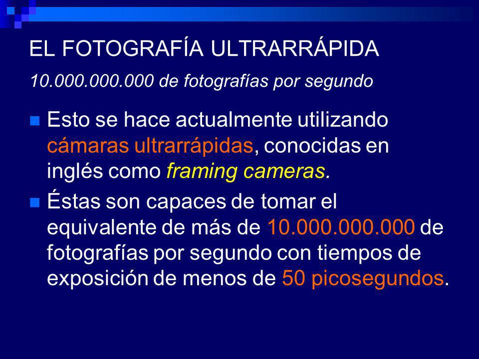 EL FOTOGRAFÍA ULTRARRÁPIDA 10.000.000.000 de fotografías por segundo Esto se hace actualmente utilizando cámaras ultrarrápidas, conocidas en inglés como framing cameras.