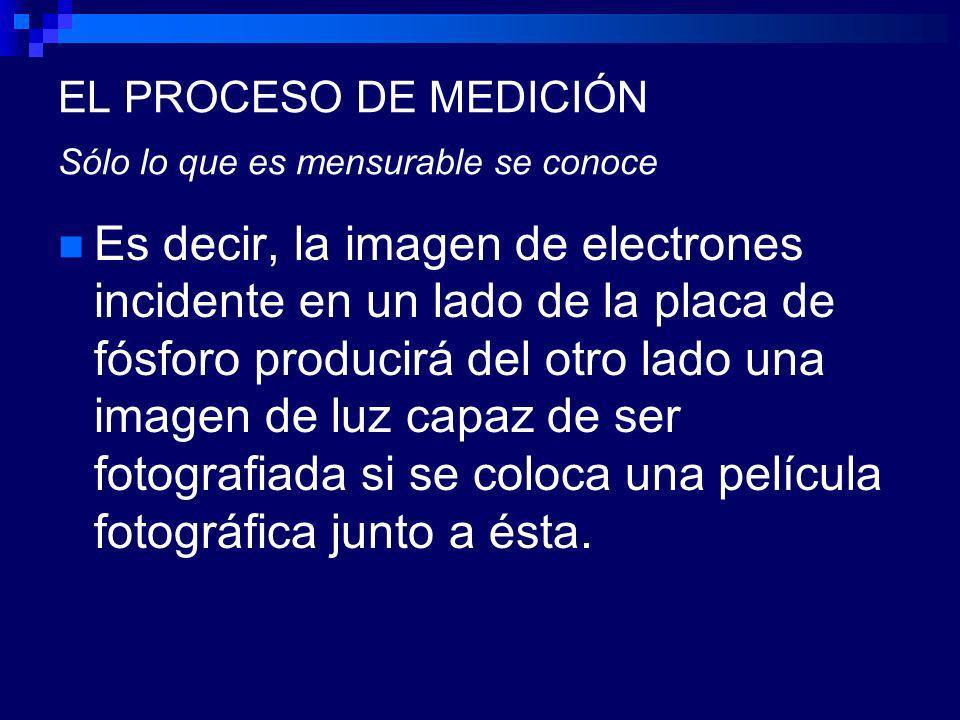 EL PROCESO DE MEDICIÓN Sólo lo que es mensurable se conoce Es decir, la imagen de electrones incidente en un lado de la placa de fósforo producirá del otro lado una imagen de luz capaz de ser fotografiada si se coloca una película fotográfica junto a ésta.