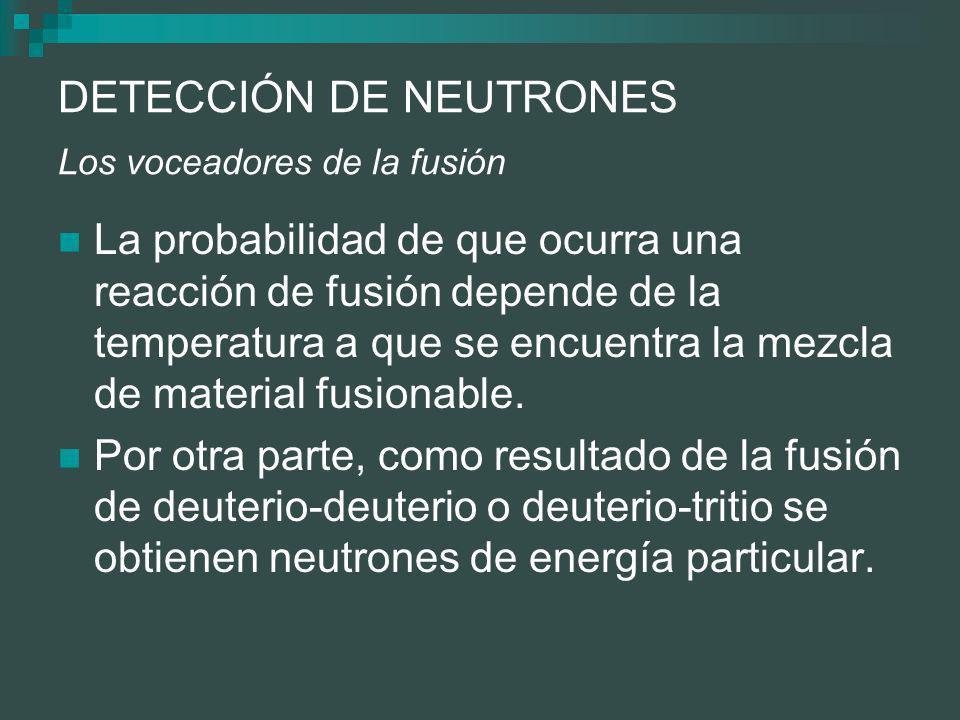 DETECCIÓN DE NEUTRONES Los voceadores de la fusión La probabilidad de que ocurra una reacción de fusión depende de la temperatura a que se encuentra la mezcla de material fusionable.