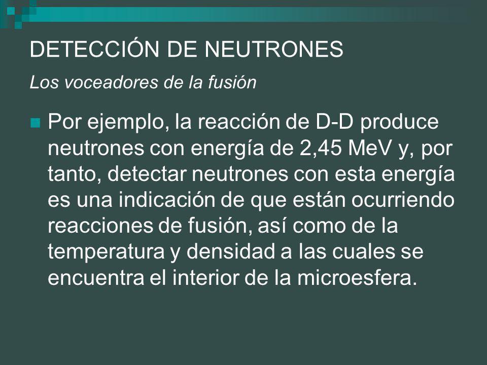 DETECCIÓN DE NEUTRONES Los voceadores de la fusión Por ejemplo, la reacción de D-D produce neutrones con energía de 2,45 MeV y, por tanto, detectar neutrones con esta energía es una indicación de que están ocurriendo reacciones de fusión, así como de la temperatura y densidad a las cuales se encuentra el interior de la microesfera.
