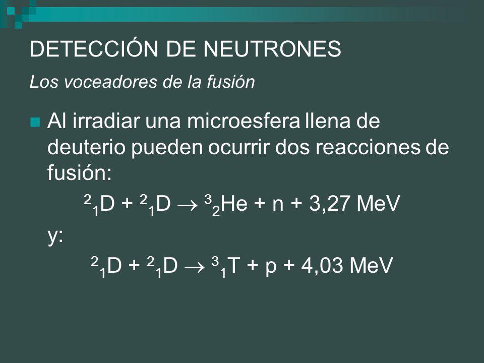 DETECCIÓN DE NEUTRONES Los voceadores de la fusión Al irradiar una microesfera llena de deuterio pueden ocurrir dos reacciones de fusión: 2 1 D + 2 1 D 3 2 He + n + 3,27 MeV y: 2 1 D + 2 1 D 3 1 T + p + 4,03 MeV