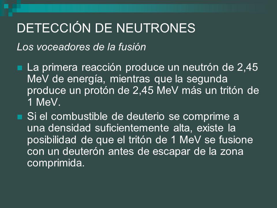 DETECCIÓN DE NEUTRONES Los voceadores de la fusión La primera reacción produce un neutrón de 2,45 MeV de energía, mientras que la segunda produce un protón de 2,45 MeV más un tritón de 1 MeV.