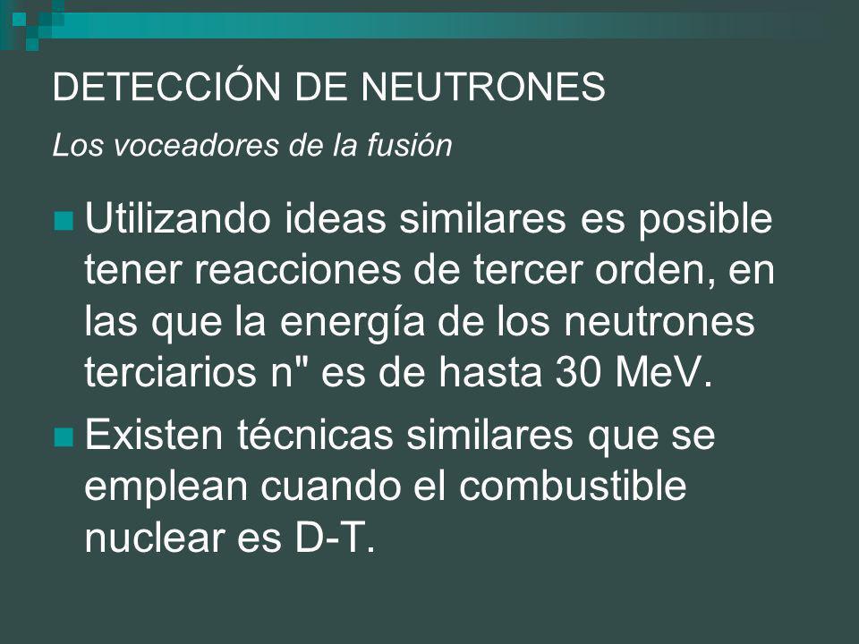 DETECCIÓN DE NEUTRONES Los voceadores de la fusión Utilizando ideas similares es posible tener reacciones de tercer orden, en las que la energía de los neutrones terciarios n es de hasta 30 MeV.