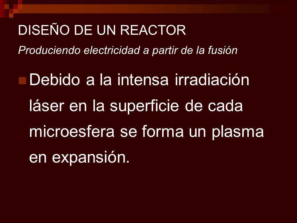 DISEÑO DE UN REACTOR Produciendo electricidad a partir de la fusión Debido a la intensa irradiación láser en la superficie de cada microesfera se forma un plasma en expansión.