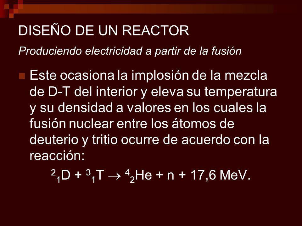 DISEÑO DE UN REACTOR Produciendo electricidad a partir de la fusión Este ocasiona la implosión de la mezcla de D-T del interior y eleva su temperatura y su densidad a valores en los cuales la fusión nuclear entre los átomos de deuterio y tritio ocurre de acuerdo con la reacción: 2 1 D + 3 1 T 4 2 He + n + 17,6 MeV.