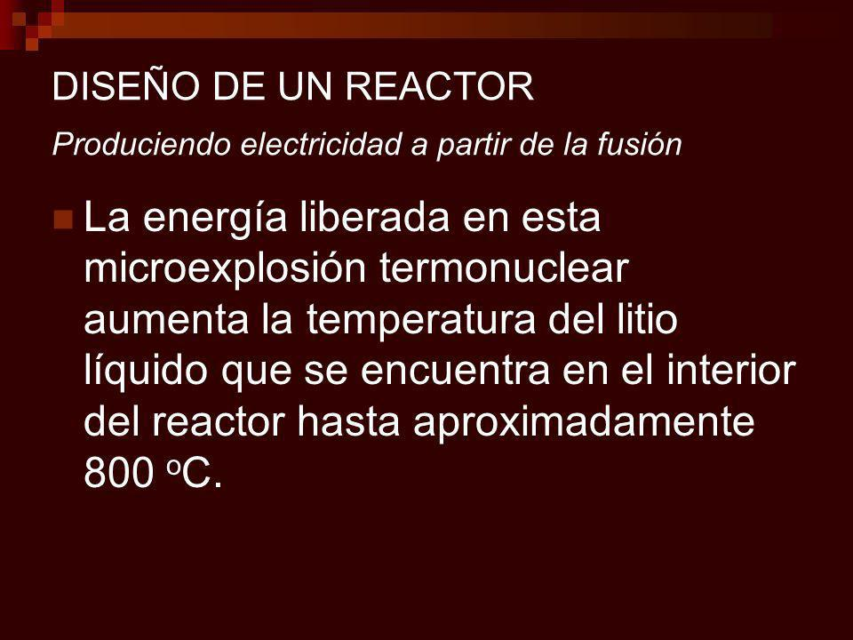 DISEÑO DE UN REACTOR Produciendo electricidad a partir de la fusión La energía liberada en esta microexplosión termonuclear aumenta la temperatura del litio líquido que se encuentra en el interior del reactor hasta aproximadamente 800 o C.