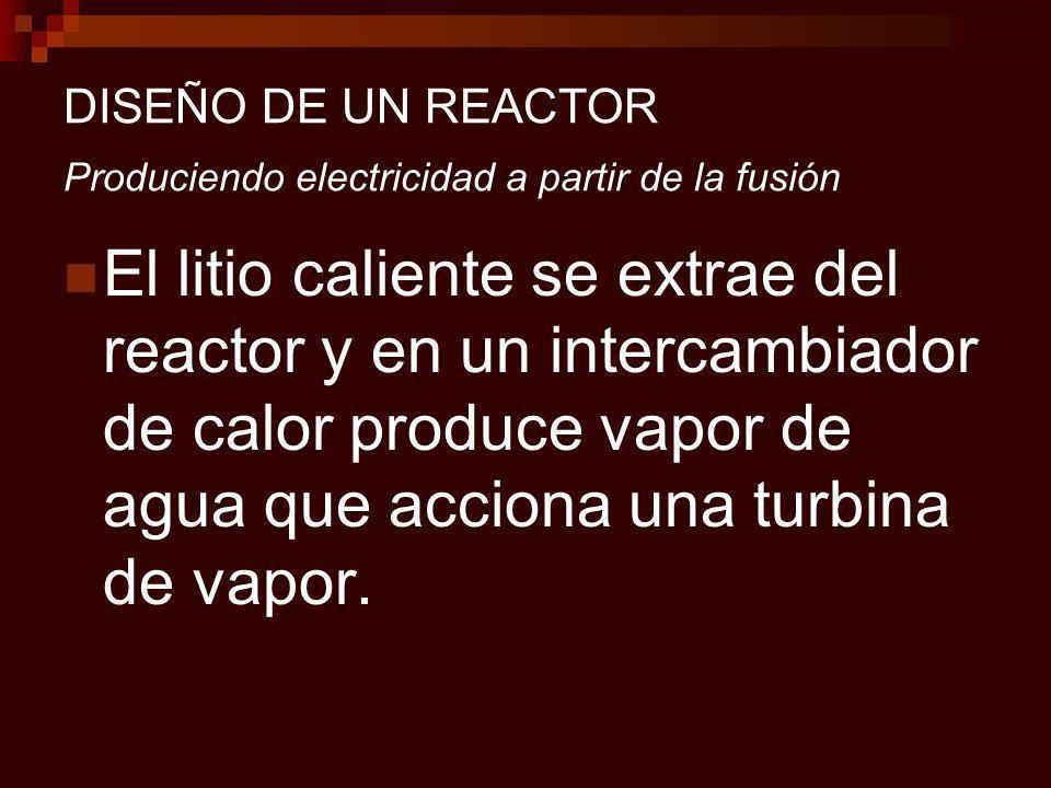 DISEÑO DE UN REACTOR Produciendo electricidad a partir de la fusión El litio caliente se extrae del reactor y en un intercambiador de calor produce vapor de agua que acciona una turbina de vapor.