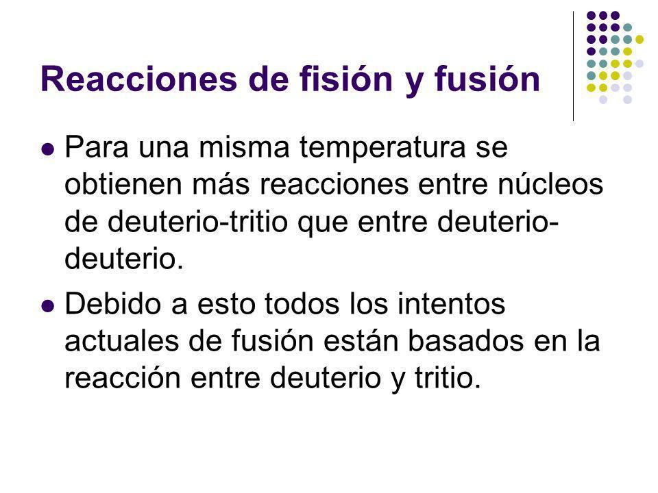 Reacciones de fisión y fusión Para una misma temperatura se obtienen más reacciones entre núcleos de deuterio-tritio que entre deuterio- deuterio.