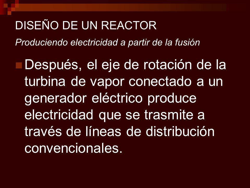 DISEÑO DE UN REACTOR Produciendo electricidad a partir de la fusión Después, el eje de rotación de la turbina de vapor conectado a un generador eléctrico produce electricidad que se trasmite a través de líneas de distribución convencionales.