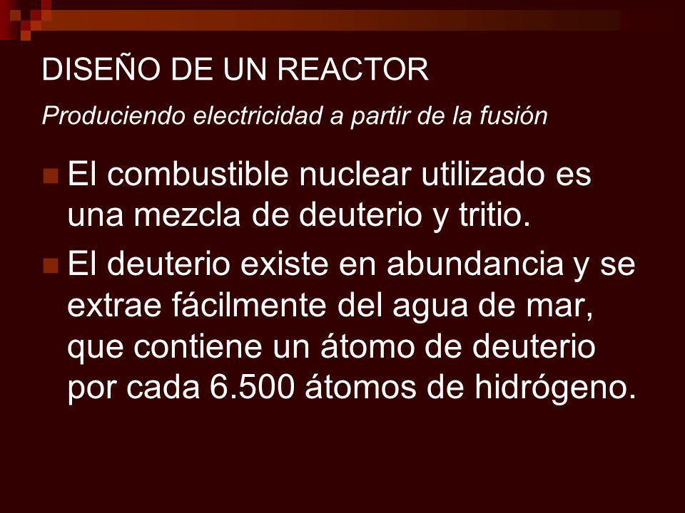 DISEÑO DE UN REACTOR Produciendo electricidad a partir de la fusión El combustible nuclear utilizado es una mezcla de deuterio y tritio.