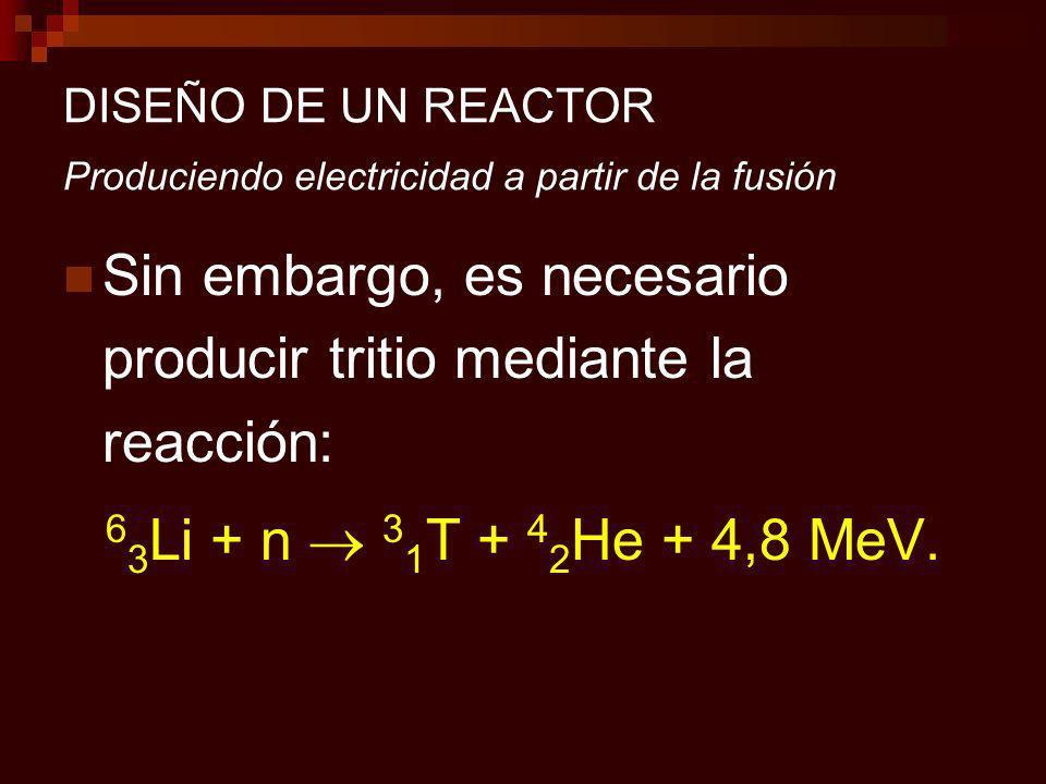 DISEÑO DE UN REACTOR Produciendo electricidad a partir de la fusión Sin embargo, es necesario producir tritio mediante la reacción: 6 3 Li + n 3 1 T + 4 2 He + 4,8 MeV.