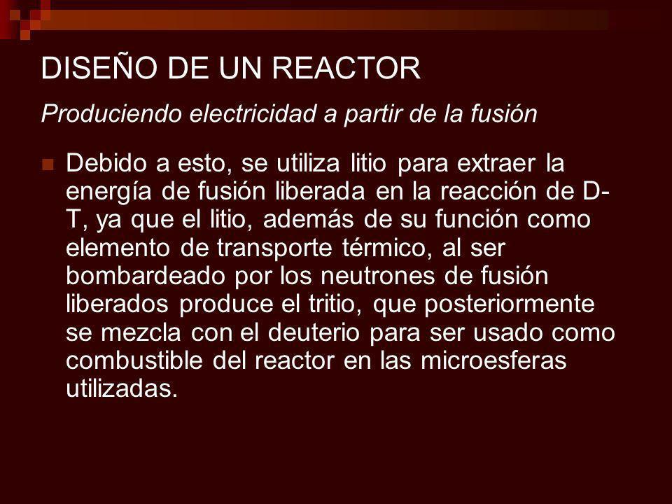 DISEÑO DE UN REACTOR Produciendo electricidad a partir de la fusión Debido a esto, se utiliza litio para extraer la energía de fusión liberada en la reacción de D- T, ya que el litio, además de su función como elemento de transporte térmico, al ser bombardeado por los neutrones de fusión liberados produce el tritio, que posteriormente se mezcla con el deuterio para ser usado como combustible del reactor en las microesferas utilizadas.
