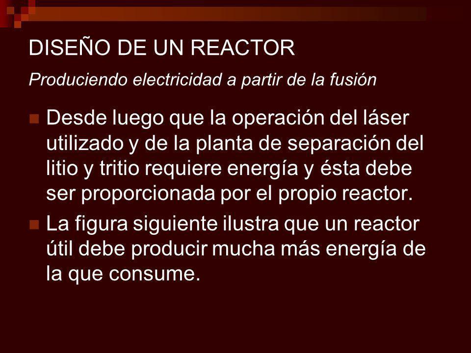 DISEÑO DE UN REACTOR Produciendo electricidad a partir de la fusión Desde luego que la operación del láser utilizado y de la planta de separación del litio y tritio requiere energía y ésta debe ser proporcionada por el propio reactor.