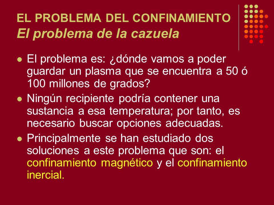 EL PROBLEMA DEL CONFINAMIENTO El problema de la cazuela El problema es: ¿dónde vamos a poder guardar un plasma que se encuentra a 50 ó 100 millones de grados.