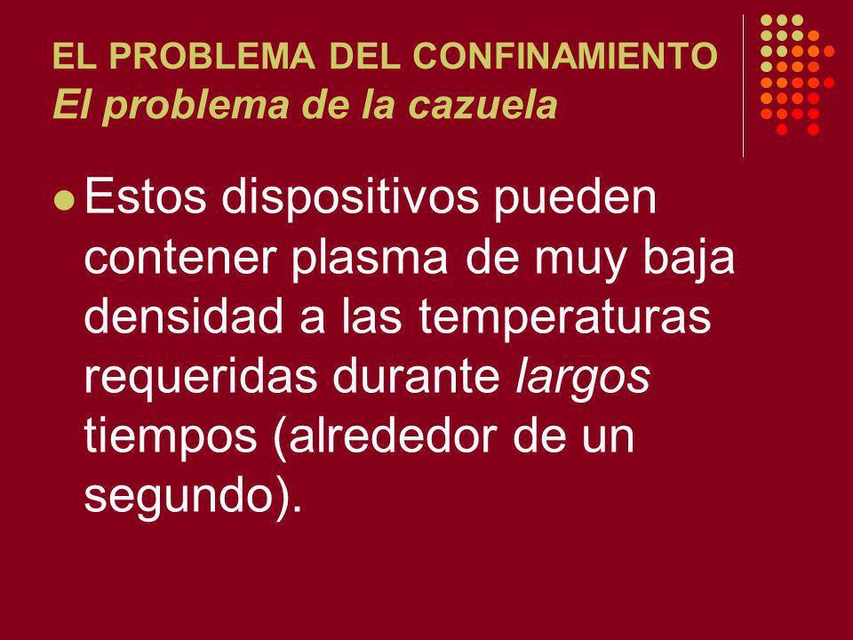EL PROBLEMA DEL CONFINAMIENTO El problema de la cazuela Estos dispositivos pueden contener plasma de muy baja densidad a las temperaturas requeridas durante largos tiempos (alrededor de un segundo).