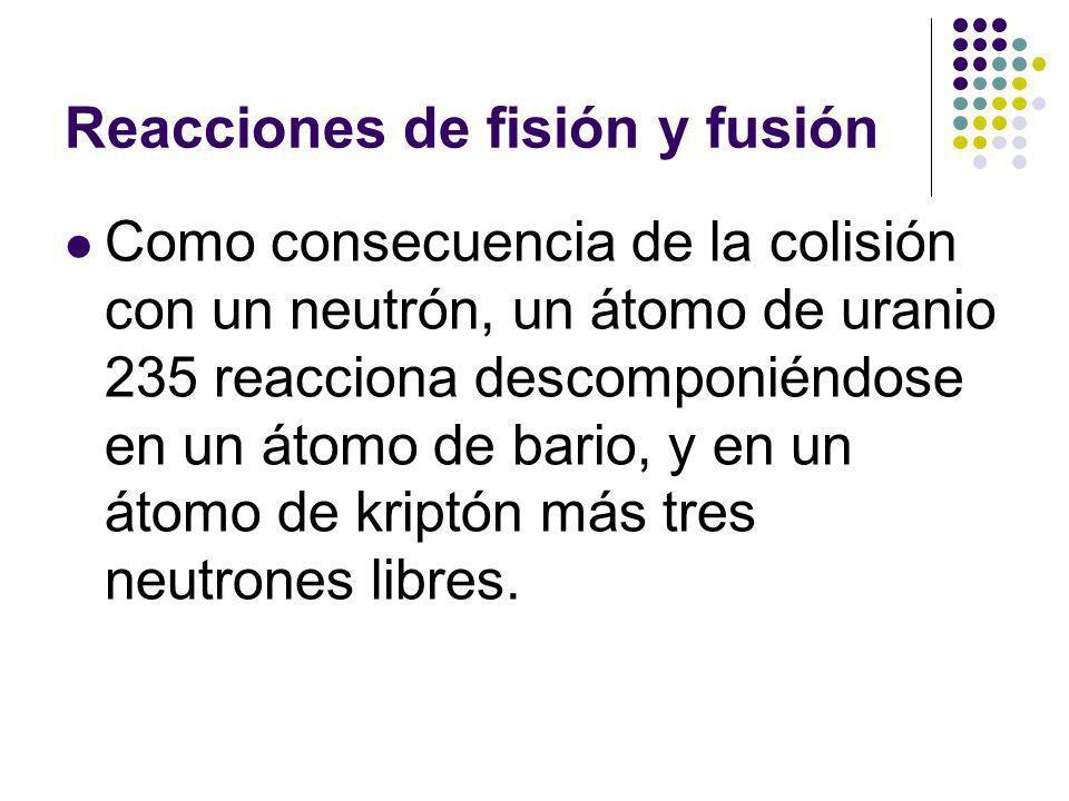 Reacciones de fisión y fusión Como consecuencia de la colisión con un neutrón, un átomo de uranio 235 reacciona descomponiéndose en un átomo de bario, y en un átomo de kriptón más tres neutrones libres.