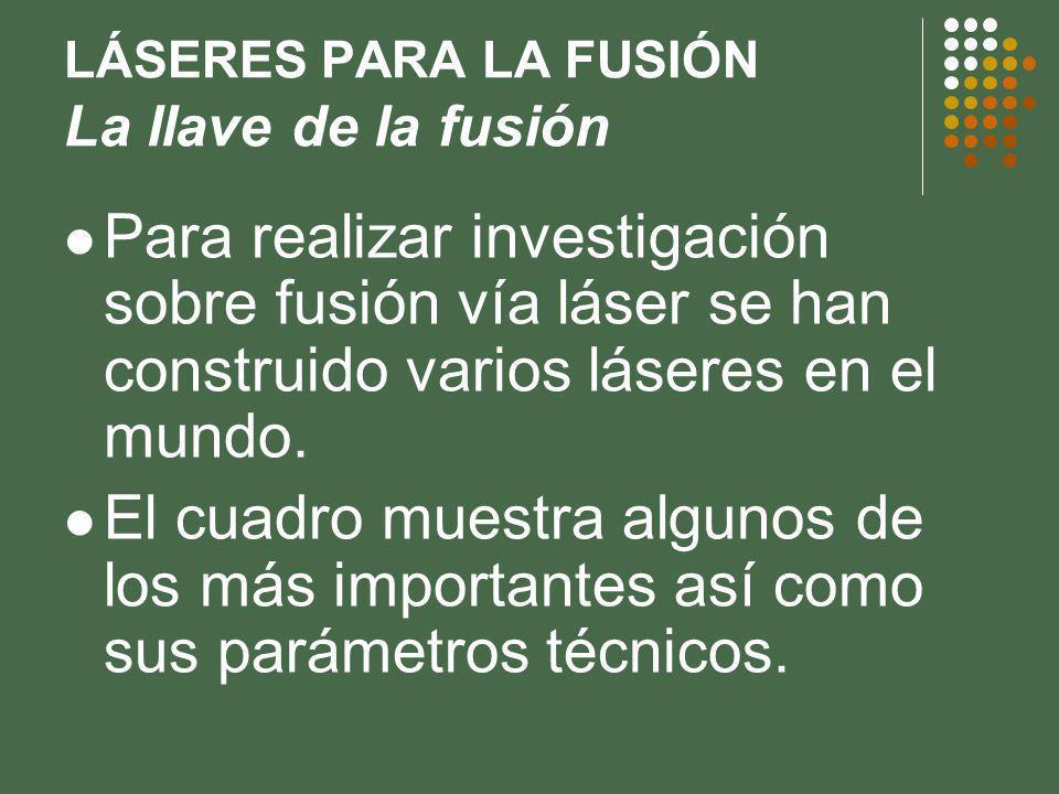 LÁSERES PARA LA FUSIÓN La llave de la fusión Para realizar investigación sobre fusión vía láser se han construido varios láseres en el mundo.