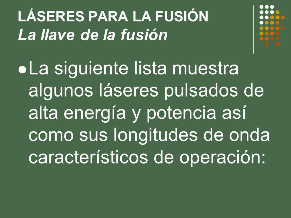 LÁSERES PARA LA FUSIÓN La llave de la fusión La siguiente lista muestra algunos láseres pulsados de alta energía y potencia así como sus longitudes de onda característicos de operación: