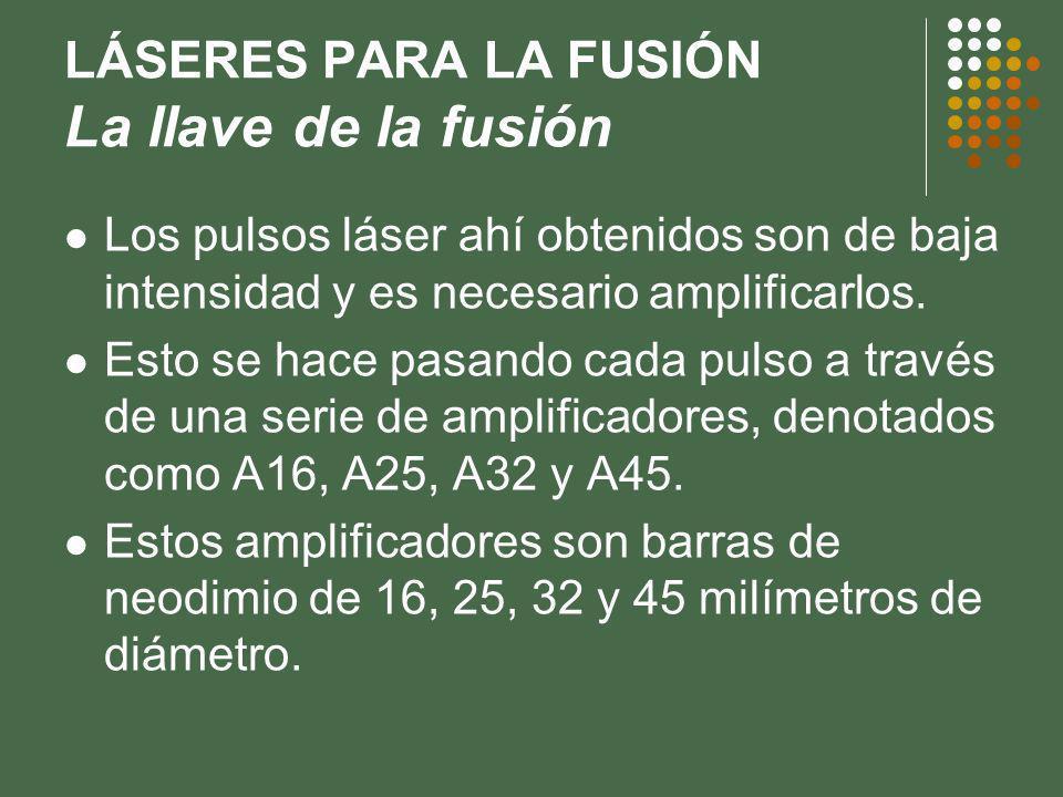 LÁSERES PARA LA FUSIÓN La llave de la fusión Los pulsos láser ahí obtenidos son de baja intensidad y es necesario amplificarlos.