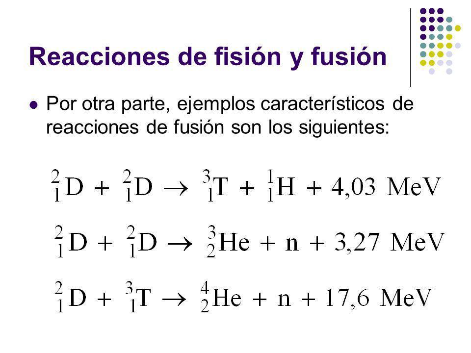 Reacciones de fisión y fusión Por otra parte, ejemplos característicos de reacciones de fusión son los siguientes: