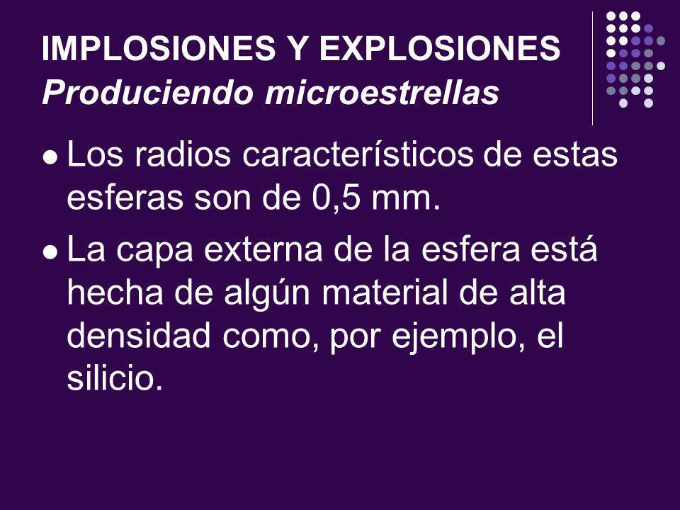IMPLOSIONES Y EXPLOSIONES Produciendo microestrellas Los radios característicos de estas esferas son de 0,5 mm.