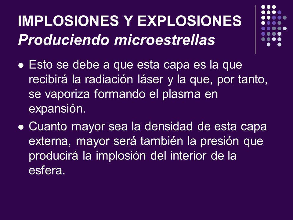 IMPLOSIONES Y EXPLOSIONES Produciendo microestrellas Esto se debe a que esta capa es la que recibirá la radiación láser y la que, por tanto, se vaporiza formando el plasma en expansión.