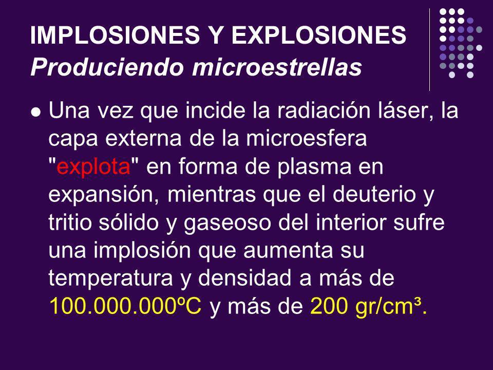 IMPLOSIONES Y EXPLOSIONES Produciendo microestrellas Una vez que incide la radiación láser, la capa externa de la microesfera explota en forma de plasma en expansión, mientras que el deuterio y tritio sólido y gaseoso del interior sufre una implosión que aumenta su temperatura y densidad a más de 100.000.000ºC y más de 200 gr/cm³.