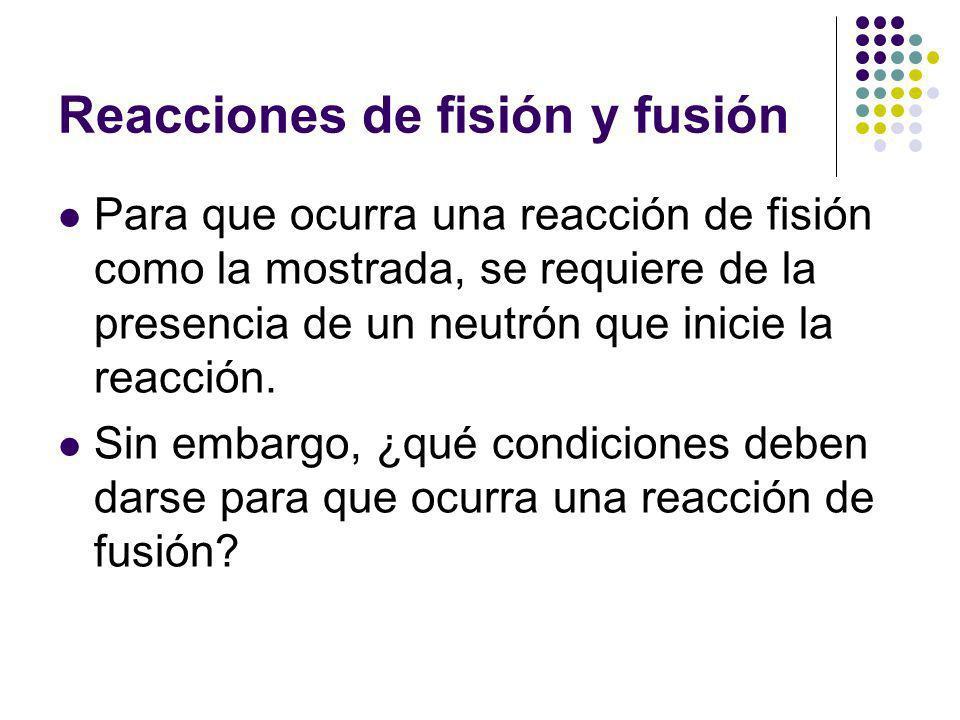 Reacciones de fisión y fusión Para que ocurra una reacción de fisión como la mostrada, se requiere de la presencia de un neutrón que inicie la reacción.