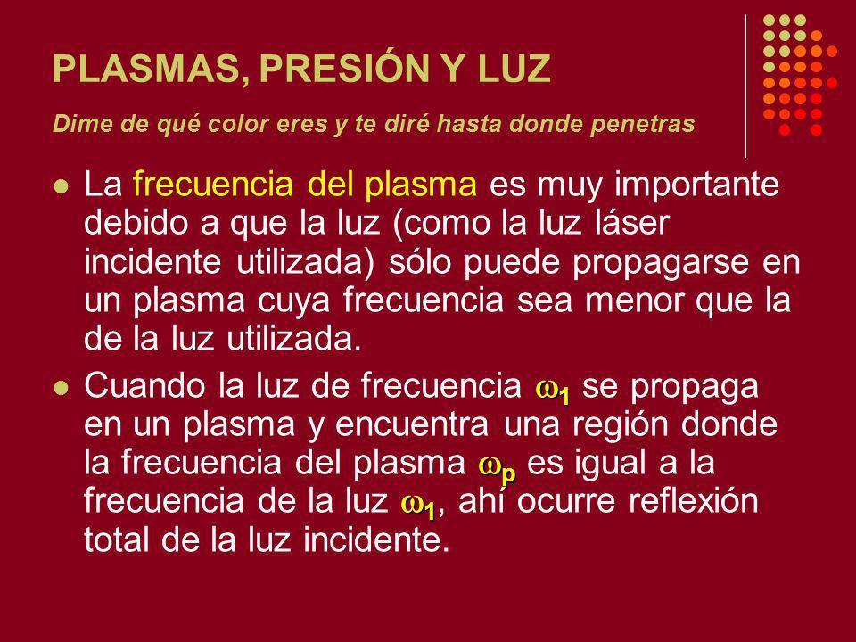 PLASMAS, PRESIÓN Y LUZ Dime de qué color eres y te diré hasta donde penetras La frecuencia del plasma es muy importante debido a que la luz (como la luz láser incidente utilizada) sólo puede propagarse en un plasma cuya frecuencia sea menor que la de la luz utilizada.
